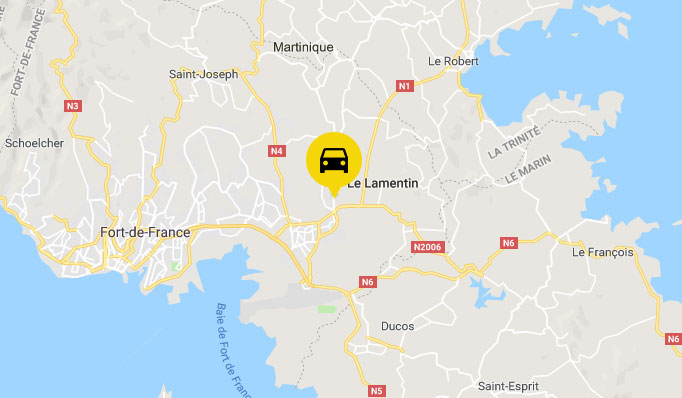 location voiture Lamentin : Map Martinique